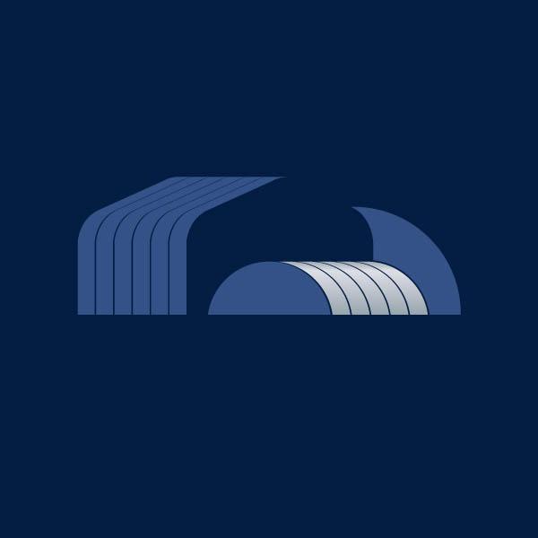 diseño de isotipo curvosteel fondo azul