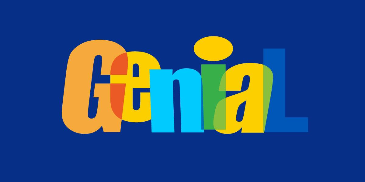 diseño de logotipo genial fondo azul